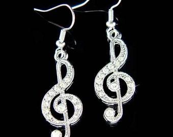 Swarovski Crystal TREBLE G CLEF Love Music Musical Note Jewelry Pendant pierced Earrings Christmas Best Friend Gift New