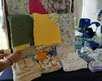 Baby blanket or sweater and hat sets