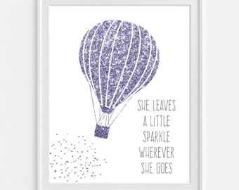 Hot Air Balloon Art Print, Faux Glitter 'She Leaves A Little Sparkle...' Purple Wall Art, Purple Decor, Nursery Wall Art, Nursery Decor