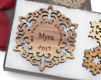 Baby's First Christmas Ornament - Personalized 1st Christmas / Holiday Gift Box Set - Custom Engraved Wood Snowflake Ornament - Cedar Myra