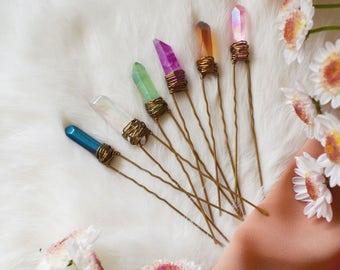 Angel Aura Crystal Hair Pins, Raw Quartz Hair Pin, Bridal Accessories, Wedding Hair Accessories