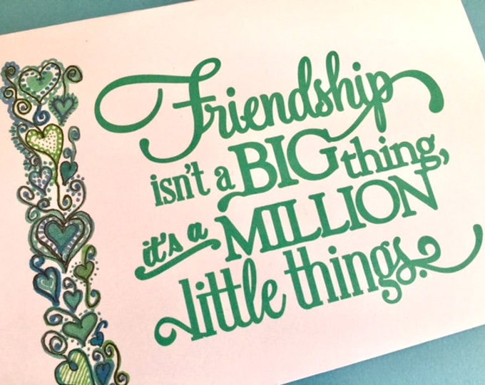 friend greeting card 5 x 7 art print original design bff gift best friend girl friend handlettered style across the miles BeachHouseDreams