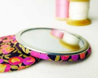 Handbag mirror | Stocking filler for her | Secret Santa | Liberty print pocket mirror | Xmas gift for her | Gift under 5 | makeup mirror