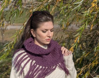 READY TO SHIP Women purple winter scarf. Infinity scarf. Mohair fringe scarf. Boho scarf. Gift for women. Crochet fringe scarf