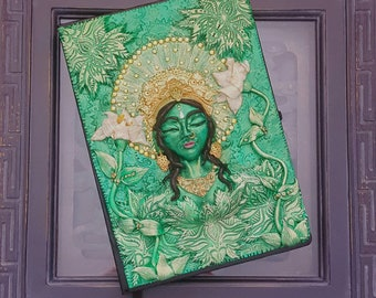Green Tara goddess journal. Goddess book cover . Handmade unique. Journal cover. Polymer clay book cover.