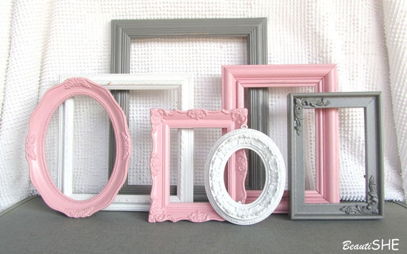 Pink Grey White Frame Set Custom Frames Open or Picture Frames with ...