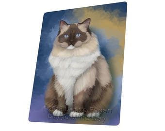 Ragdoll Cat Tempered Cutting Board Large