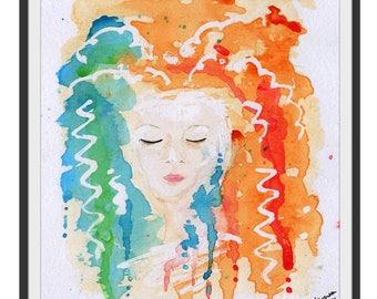 Fantasy Faces, Fantasy Portrait, Fantasy Art, Beautiful Girl, Beautiful Woman, Watercolour Art, Watercolour Faces, Fantasy Painting, Print