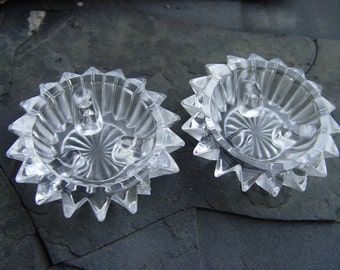 Vintage Crystal Star Ray Candle Stick Holders