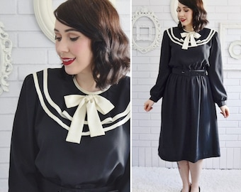Vintage Black and Cream Sailor-Style Dress with Neck Tie and Belt by Cathy Sue Size Small or Medium