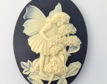 Ivory Fairy with Flowers on Black Cameo Acrylic Cabochons 40x30mm (2) cab842B