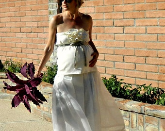 Bride Maternity Tops-Maternity Clothes-Maternity Clothing-Bride Clothes-Le Bonjour Ruffled Jeweled Beaded Belt Top-Chic Modern Bride