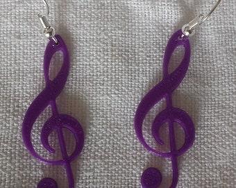 Treble clef earrings purple