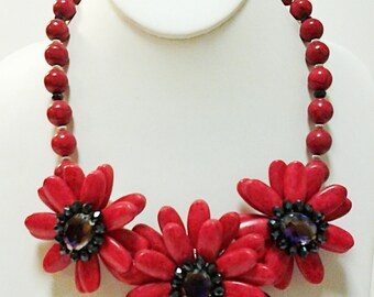 Red Turquoise Flowers Necklace / Red Flowers Bib Necklace.