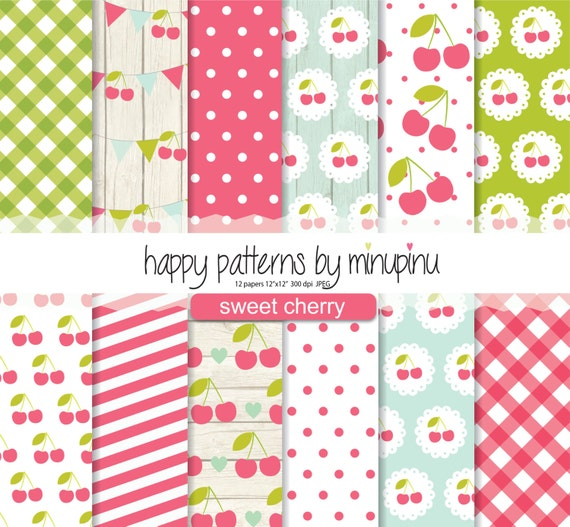Cherry Digital Paper Sweet Patterns Red Green And Blue Background Shabby Chic Texture With Gingham Polka Dots Stripes From Minupinu On