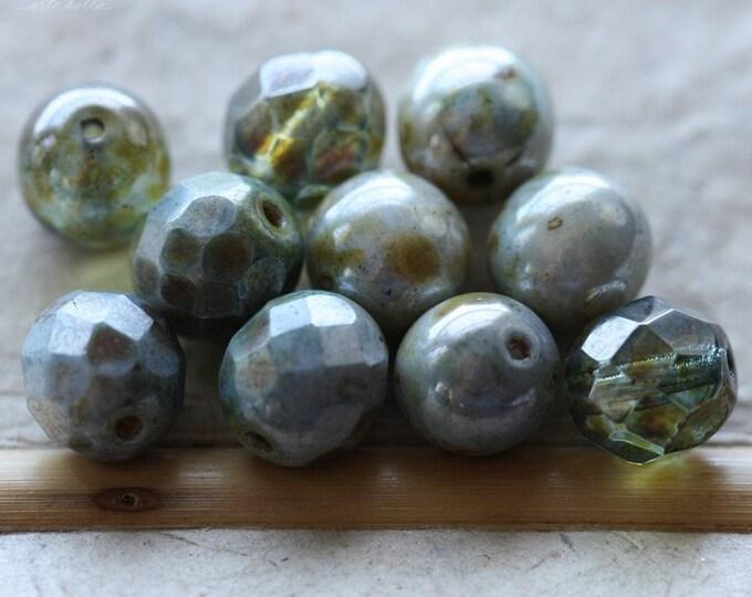 BLUE FOREST MIX .. 10 Premium Picasso Glass Czech Bead Mix 8mm (4565-10)