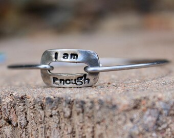 I am Enough Mantra Bangle Bracelet, Mantra Jewelry, Motivational Gift, Motivational Jewelry, inspirational gift, Bangle Bracelet with Charms