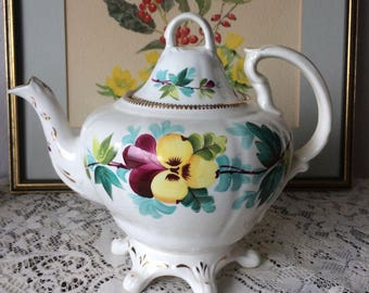 Handpainted Footed Floral Teapot LARGE 4-6 cups