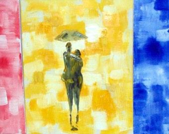 Original 48x20 Acrylic Abstract walk in the rain Painting