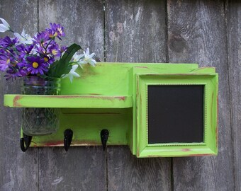 Mail Organizer--Kitchen Recipe card Holder--Chalkboard Message Center--Key Hook Rack--Message board