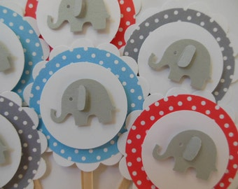 Elephant Cupcake Toppers - Blue, Gray and Red Polka Dots - Baby Shower Decorations - Child Birthday Decorations - Set of 6