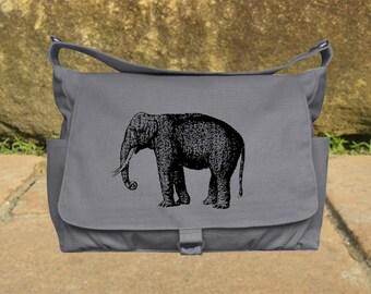 Gray canvas messenger shoulder bag women diaper bag crossbody satchel bag travel bag back to school laptop bag screen print messenger bag
