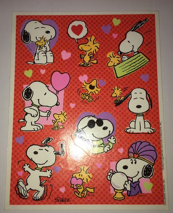 Only One!!! Vintage 80's Peanuts Snoopy Valentine's Day Hearts Love Hallmark Sticker Sheet by Etsy