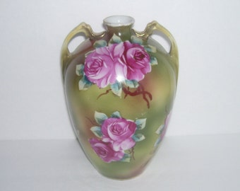 Unmarked Nippon Vase with Large Dark Pink Roses
