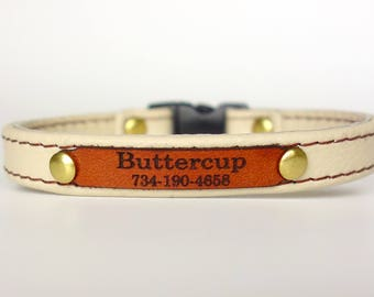 Personalized Leather Cat Collar with Leather ID Tag and Safety Breakaway Buckle by Ruggit Collars