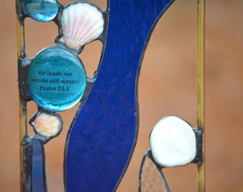 Religious Stained Glass.  Garden Art. 'Beachcomber with Verse'