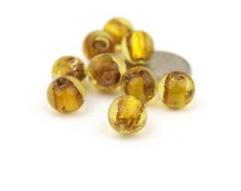 Round Gold Venetian Glass Foil Beads 12mm 4pcs