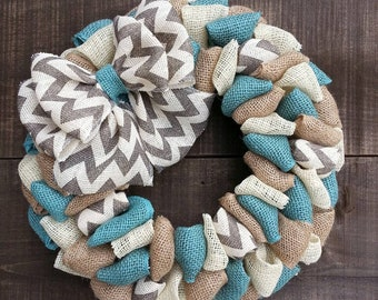 Spring burlap wreath summer wreath everyday wreath front door wreath Gray chevron wreath shabby chic wreath farmhouse coastal turquoise teal