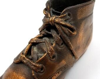 Vintage Bronzed Baby Shoe, Baby Decor