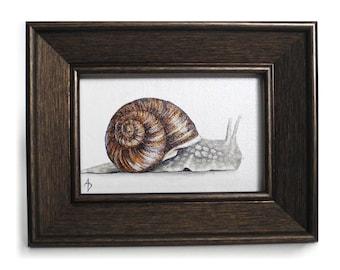 Small Snail painting - framed canvas art - miniature garden creature - woodland snail art - realistic nature painting - realism painting