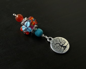 Carnelian and Turquoise magnesite Summer Blooms Spiral Tree of Life Blessingway bead - baby shower gift, pregnancy pendant, doula gift