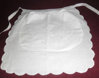 White cotton apron. Vintage apron embroidery Richelieu. The apron for the bar. Female apron. Kitchen apron