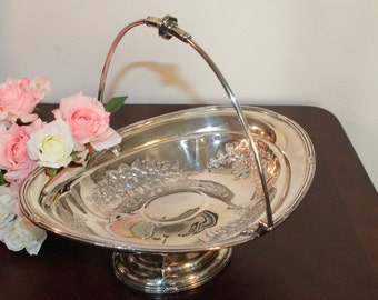 Oval Silver Plate Bride's Basket  - Oval with Ornate Roses and Violets