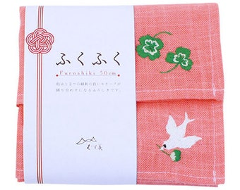 Embroidered Bird & Clover Pink Japanese Furoshiki Wrapping Cloth 50x50cm Small size (20604-104)