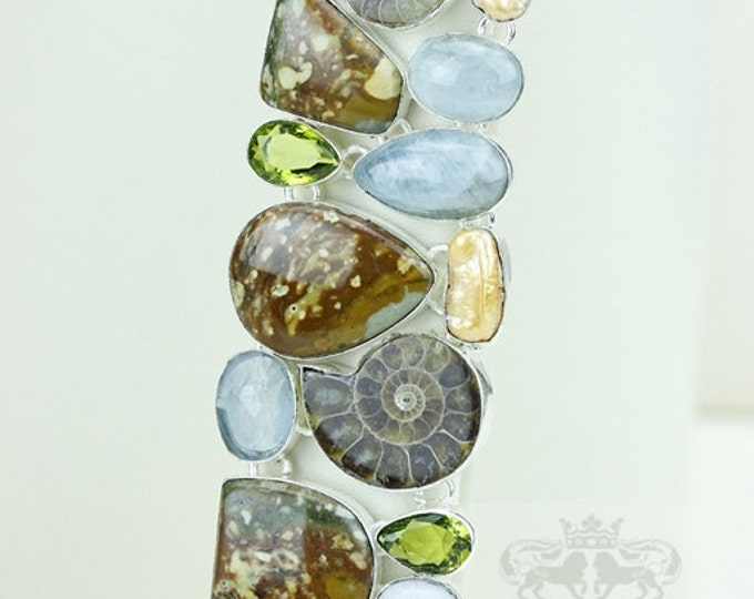 Ammonite Fossil AQUAMARINE Rhyolite Peridot 925 S0LID Sterling Silver Bracelet & FREE Worldwide Express Shipping B1710