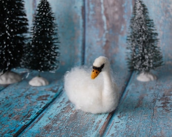 Needle Felted White Swan ~ Wool Animal Sculpture ~ Ready to Ship
