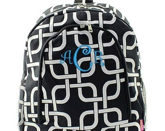 Monogrammed Backpack Personalized Nautical Link Black Backpack Personalized Backpack Kids Backpack Girls Backpack Boys Backpack