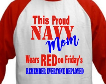 Red Friday Proud Navy Mom  Shirts