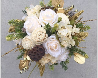 Ivory gold bouquet, woodland winter wedding bouquet.