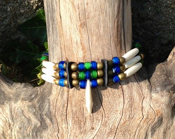 Coyote tooth, bone hair pipe choker, green, blue Native American Indian style, brass, copper, white, black, deerskin leather, trickster