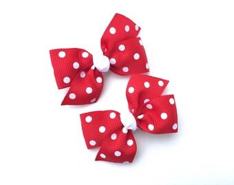 Red polka dot pigtail bows, hair bows, toddler bows, pigtail bows, baby bows, girls hair bows, hair clips, small bows, baby hair bows, bows