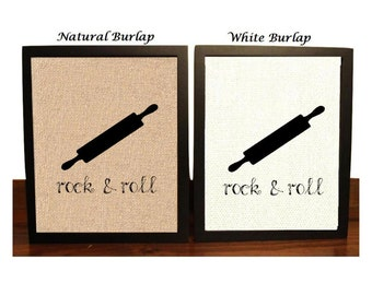 Rock & Roll | Rollin Pin | Rolling Pin | Funny Kitchen Pun Wall Art | Bakery Sign | Kitchen Decor | Bakers Decor | Funny Rollin Pin Sign