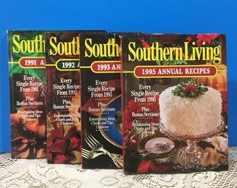 Southern Living Annual Cookbooks ~ Set of 4 ~ 1991~1992~1993~1995~ Vintage Cookbooks ~ Home Cooking ~ Southern Recipes ~ Great Condition