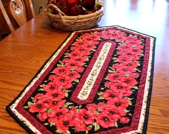 ETSY BIRTHDAY SALE Traditional Quilted Table Runner - Red Centerpiece - Table Runner -  Quilt Runner - Floral Table Topper - Quilts for Sale