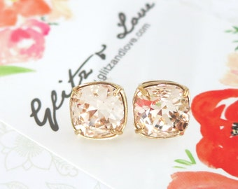 Emma - Light Silk Wedding Bridesmaid Gift Bridal Earrings, Bridesmaid Jewelry, Champagne peach Swarovski Studs Square Cushion 10mm