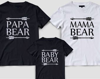 Gift for mama bear, Mommy daddy and me, Family matching shirts, Papa bear matching, Matching family shirts, Family matching tshirts set